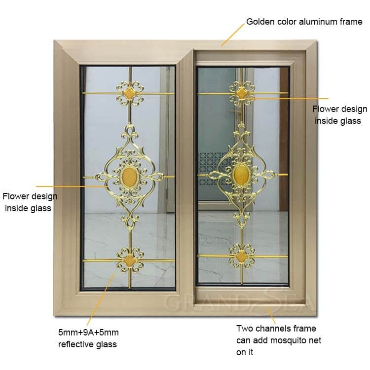 aluminum sliding window flower design
