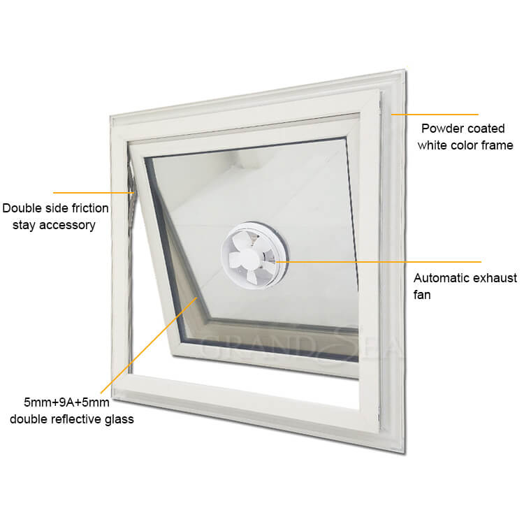 awning window with fan design