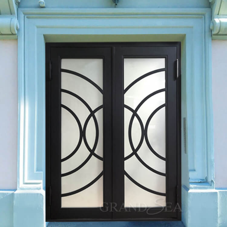 antique wrought iron glass door