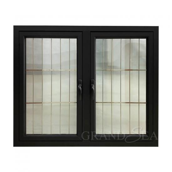 black aluminum casement window